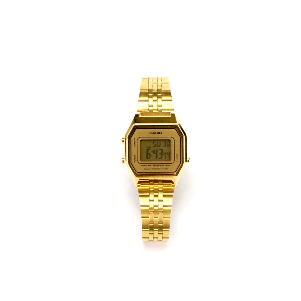 Ladies Casio Digital Stainless Steel Band Gold