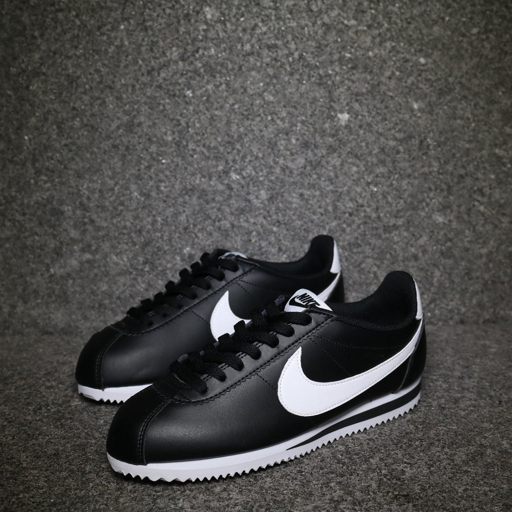 Off Centre view of the Nike Women's Cortez Leather Classic Black White at Solemate Sneakers Sydney