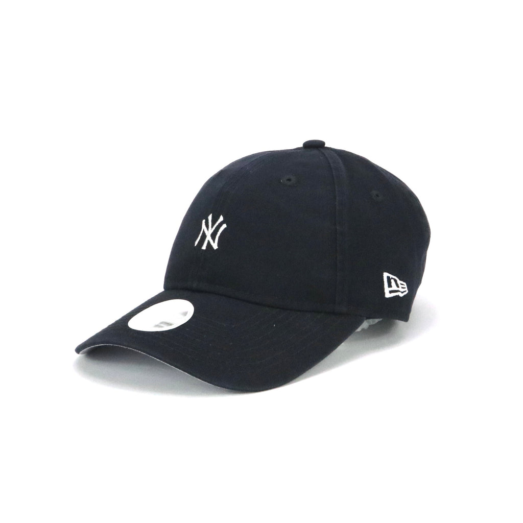 Women's New Era 940 Pre-Curved New York Yankees Mini Team Logo Washed Navy White Cap