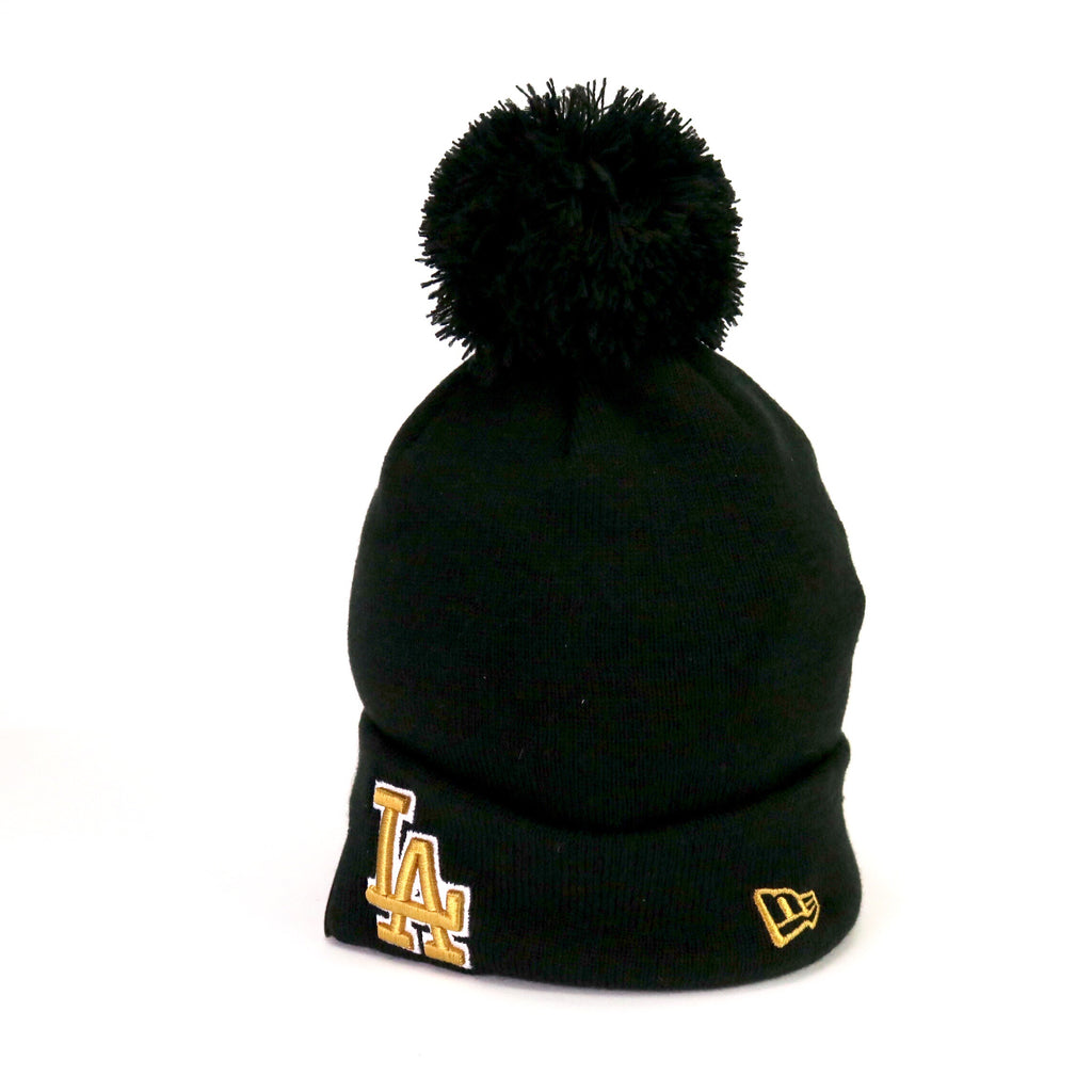 New Era POM Beanie LA Dodgers Black Gold