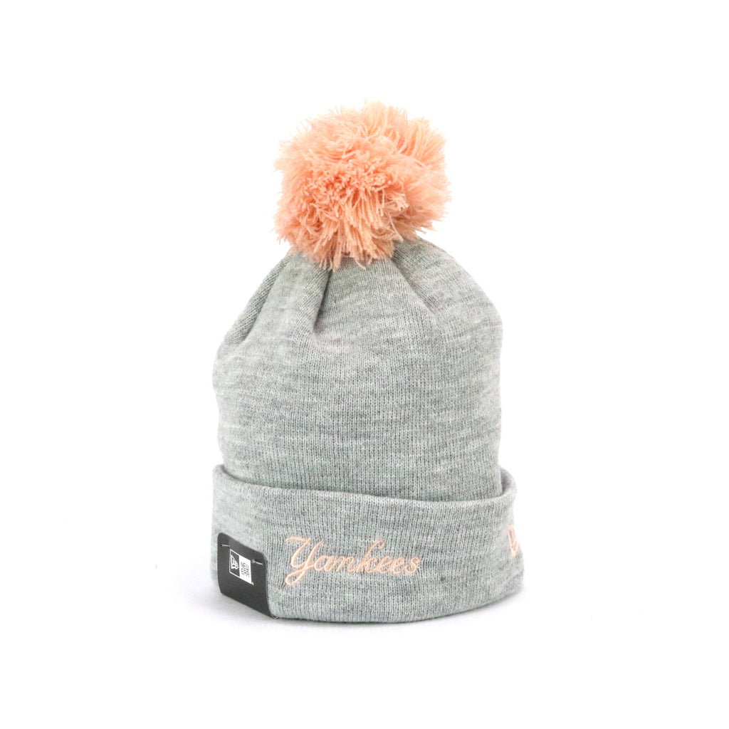 New Ere Pom Knit New York Yankees Heather Grey Peach
