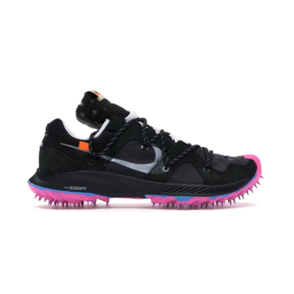 Women Nike x Off-White Zoom Terra Kiger 5 Black Metallic Silver White Pink Blast