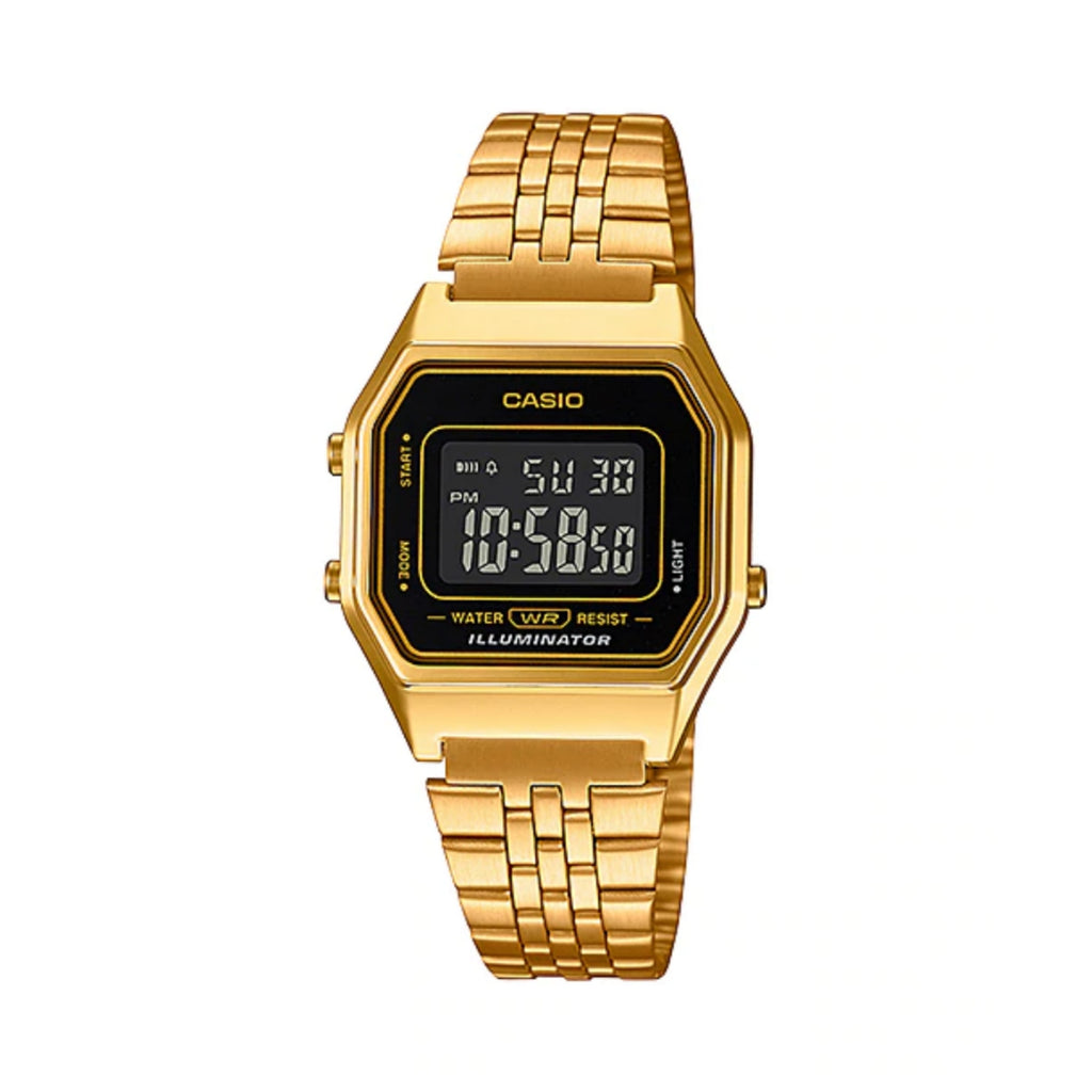 Ladies Casio Digital Gold Tone Black Face Watch