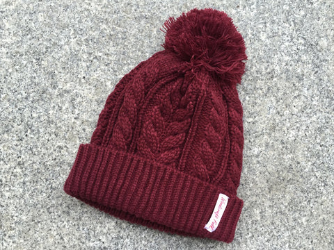 Hat-Burgundy cable bobble