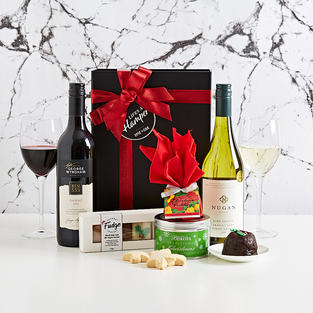Christmas Cheer with Luxury Red and  White Wine Hamper