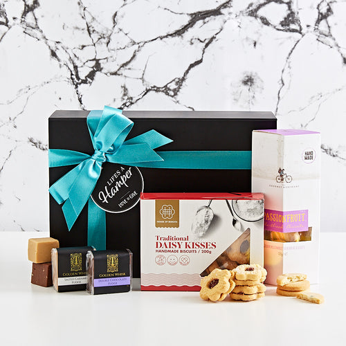 A delightful hamper of all things sweet our cookies and sweets gift hamper makes the best I'm thinking of you gift hamper. Delivered Australia Wide.