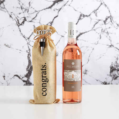 Rose Wine lovers will appreciate this modern, reusable gift bag with congrats on it. This makes a great staff gift.