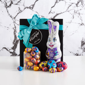 This Easter Bunny Hamper is the perfect Easter gift for kids. It comes with a Cadbury milk chocolate bunny, Cadbury hollow eggs and an assortment of mini chocolate eggs.