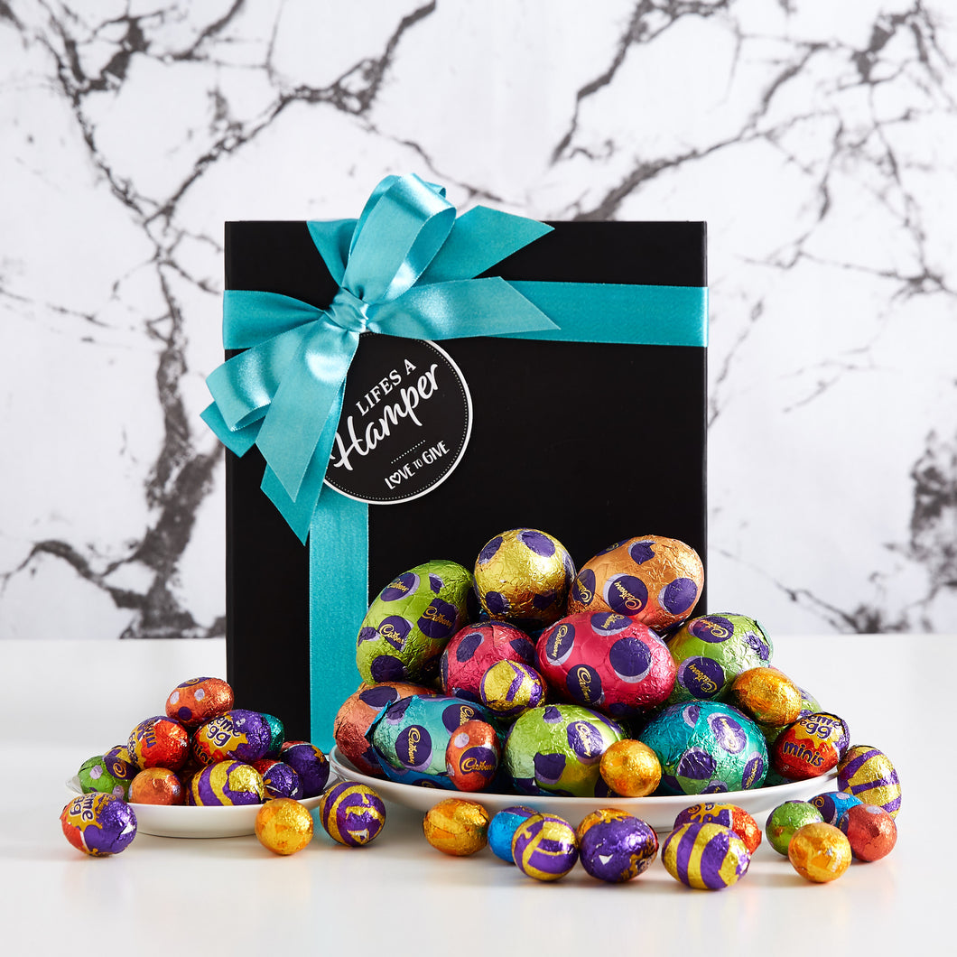 This easter egg hunt hamper includes a huge selection of small Cadbury milk assortment chocolates as well as lots of Cadbury hollow milk chocolate eggs.