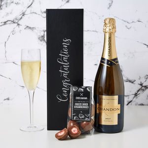 Congratulations Chandon Hamper comes with your own personalised box, a bottle of Chandon and chocolate covered freeze dried strawberries. This Congratulations Chandon Hamper is a simple and nice way to congratulate someone.