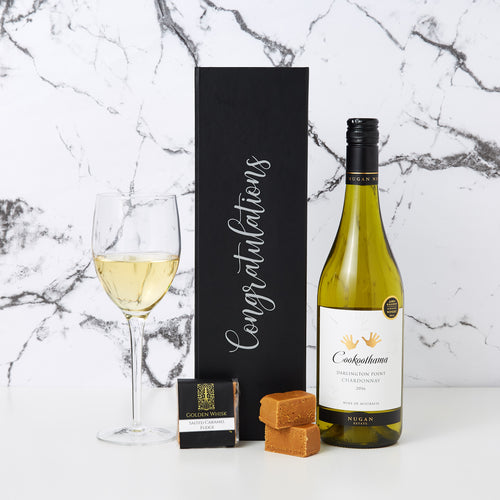 Congratulations with Chardonnay Hamper comes branded with Congratulations printed on the box together with a bottle of Cookoothama Chardonnay and a creamy golden whisk caramel fudge.