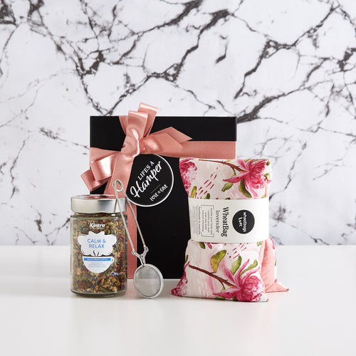Kintra Calm and Relaz Organic Tea Hamper makes a lovely Mother's Day gift hamper. It comes with a delicious loose leaf tea, tea strainer and a lavender scented wheat bag by wheatbags loves.