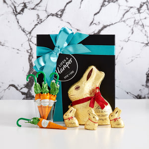 Lindt Chocolate easter hamper includes lots of Lindt gold bunnies and chocolate carrots. This is a great easter gift.