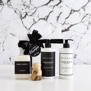 Luxury Kitchen Settlement Hamper includes dish wash, hand wash, sponges and veggie brush. The perfect settlement gift hamper