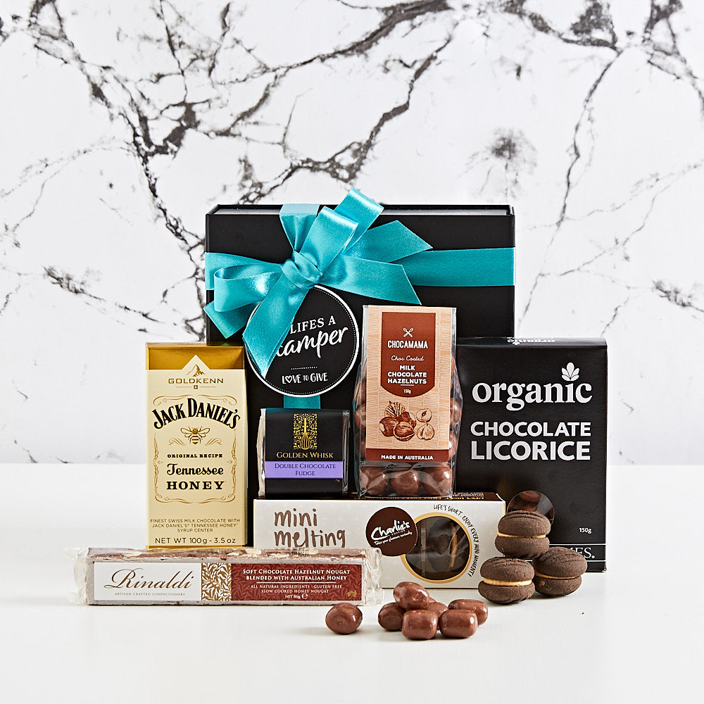 Men's Chocolate Box hamper filled with lots of decadent treats.