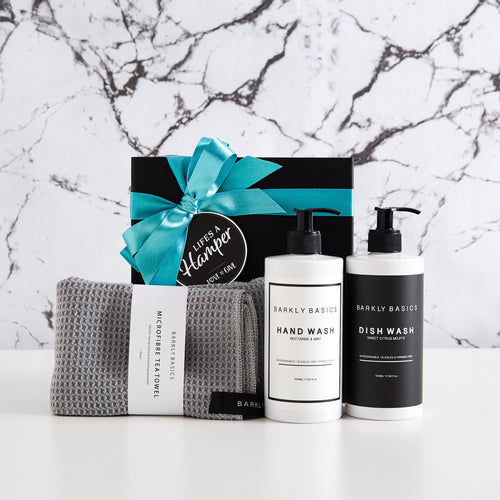 Stylish Kitchen gift hamper includes barkly basics dish wash, hand wash and tea towel.