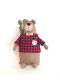 Brown Bear BOBO in Red Plaid