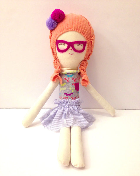 Girl with glasses-handmade rag doll
