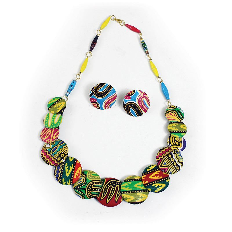 African Print Disc Necklace and Earrings