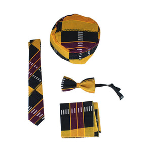 African Set: Bow tie, Square, Tie, Hat (Set of 4)