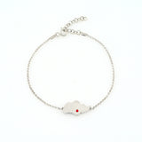 Singapore island bracelet white gold with red crystal