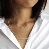 Singapore island silhouette necklace white gold with red crystal