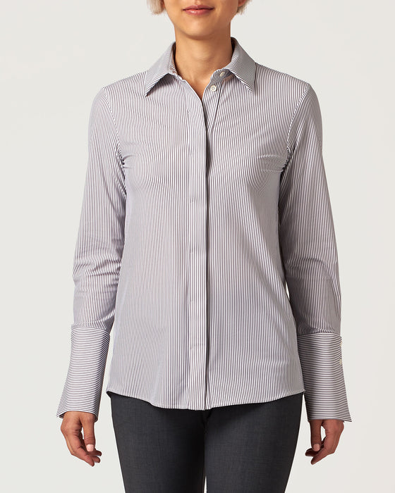 Class Act Blouse Technical Grey Stripe