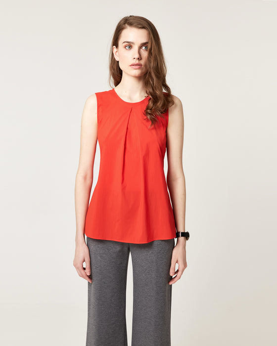 Pretty Pleat Top Tomato Red