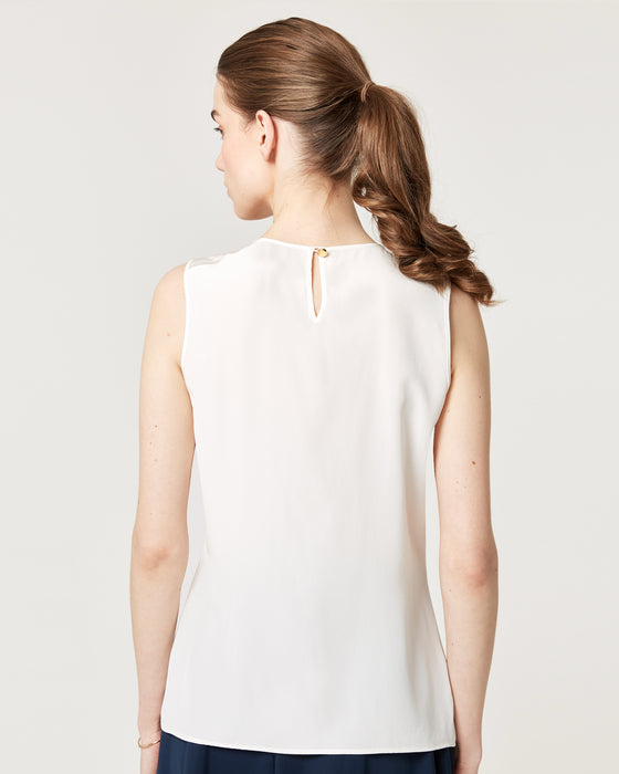Pretty Pleat Top Ivory Silk