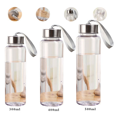 Leakproof Plastic Transparent Round Outdoor Sports Portable Water Bottles