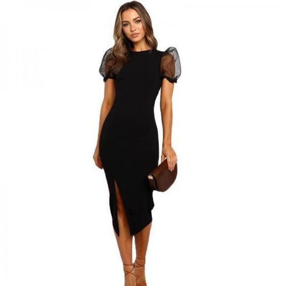 Hot Sales Pure color mesh stitching puff sleeve slim mid-length dress