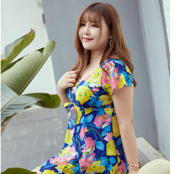 Women's plus size swimwear printed fabric 6XL 85-95kg