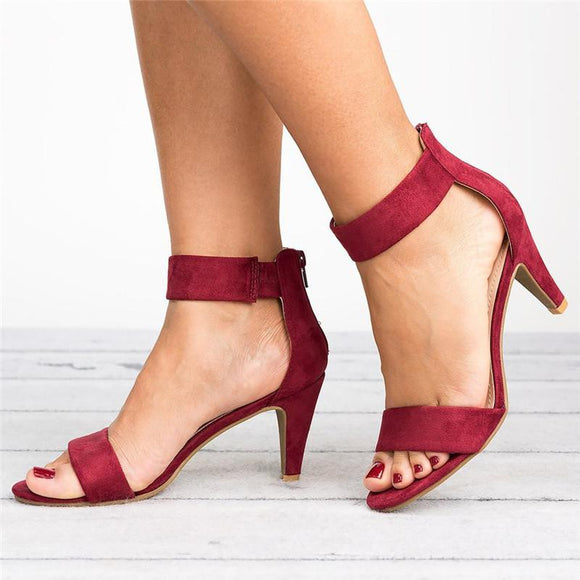 Women's sandals stiletto heels with open toe buckle