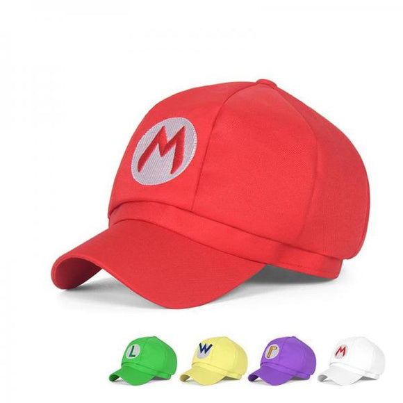 Mario hat with curled tapered short brim