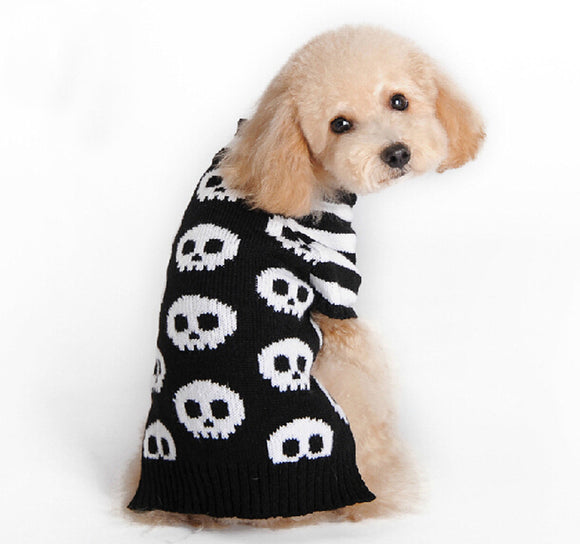 Skull striped sleeve cat and dog pet sweater