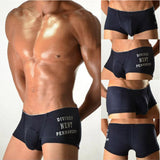 New men's cotton boxer shorts with closed cuffs low waist stylish solid color U convex design