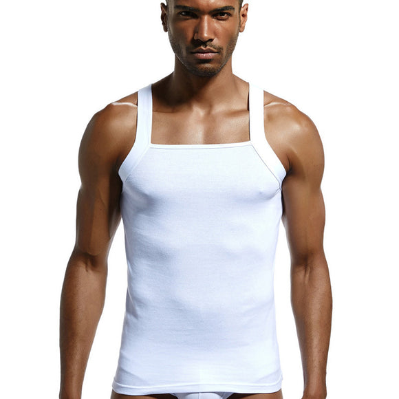 Men pure cotton threaded vest high elastic close-fitting sweat absorption