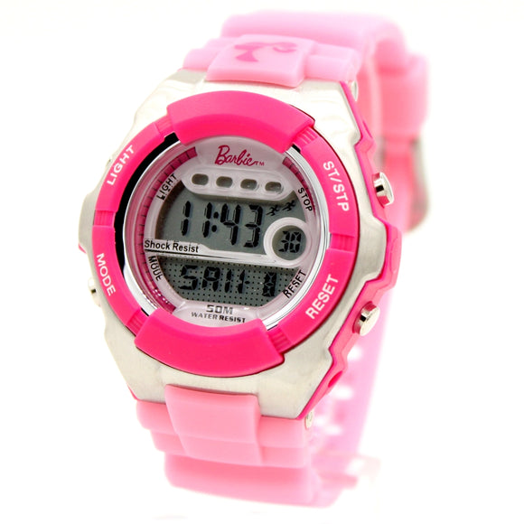 Ladies Digital Watch Chronograph Alarm Magenta Bezel Water Resist Kids Ladies Watch