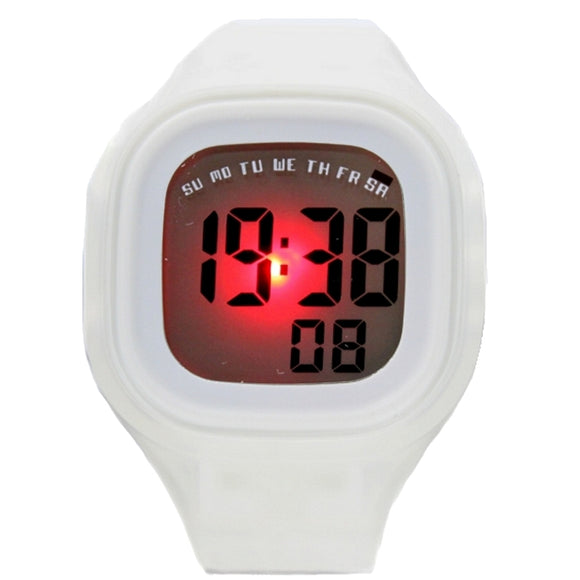DW358D Date Alarm BackLight White Bezel Silicone White Band Unisex Digital Watch-WATCHES-Come4Buy eShop