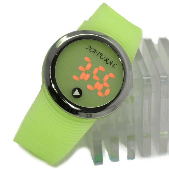 DW418G PNP Shiny Silver Watchcase LED Silicone Green Band Boy Girl Digital Watch-WATCHES-Come4Buy eShop