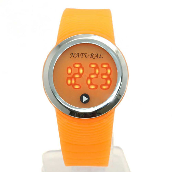 DW418H NATURAL PNP Shiny Silver Watchcase LED Silicone Orange Band Digital Watch-WATCHES-Come4Buy eShop
