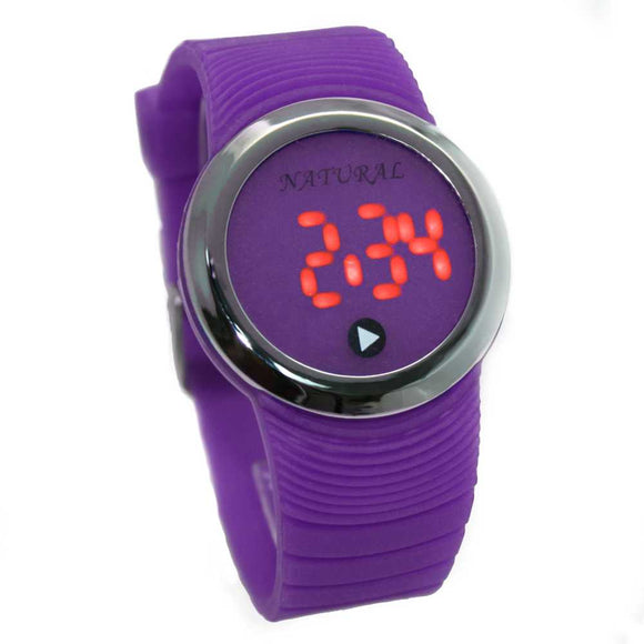 DW418I NATURAL PNP Shiny Silver Watchcase LED Silicone Violet Band Digital Watch-WATCHES-Come4Buy eShop