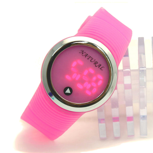 DW418J LED Silicone Pink Band Men Women Digital Watch-WATCHES-Come4Buy eShop