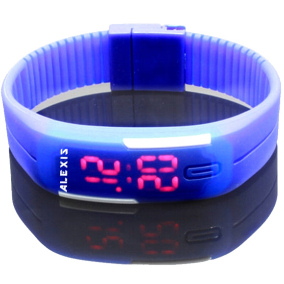 DW447C Rectangular Blue Watchcase LED Silicone Blue Band Men Women Digital Watch-WATCHES-Come4Buy eShop