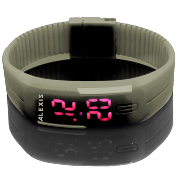 DW447D New Rectangular GrayWatchcase LED Silicone Gray Band Unisex Digital Watch-WATCHES-Come4Buy eShop