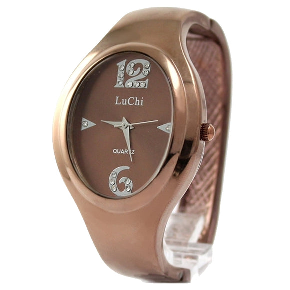 FW547A Brown Band Elliptic Brown Watchcase Female Dial with Crystal Bangle Watch-WATCHES-Come4Buy eShop