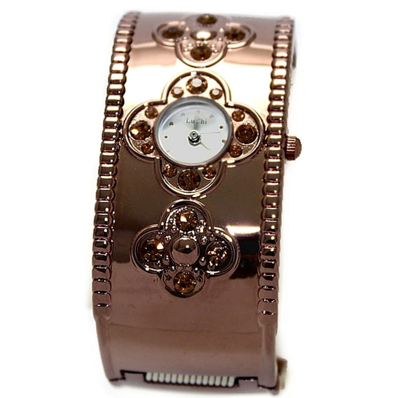 FW556B Silver Dial Brown Band Brown Watchcase Ladies Women Lu Chi Bangle Watch-WATCHES-Come4Buy eShop