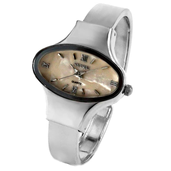 FW573A NATURAL Elliptic PNP Shiny Silver Watchcase Women Beige Dial Bangle Watch-WATCHES-Come4Buy eShop