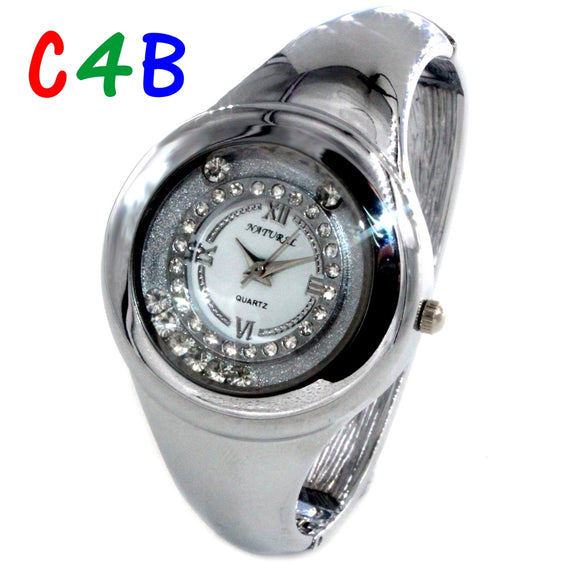 FW678C New Shiny Silver Band Round PNP Shiny Silver Watchcase Women Bangle Watch-WATCHES-Come4Buy eShop
