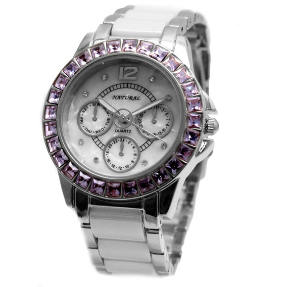 FW830S Shiny Silver Band PNP Shiny Silver Watchcase Violet Crystal Ceramic Watch-WATCHES-Come4Buy eShop